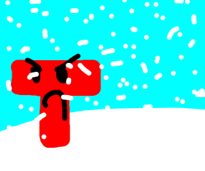 a giant, fed up, red t watches a snowstorm