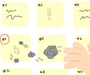 throwing rocks at 4th panel