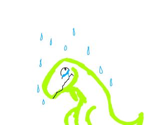 purple dinosaur crying in the rain