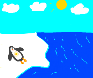 Penguin sunbathing, frying an egg on itself