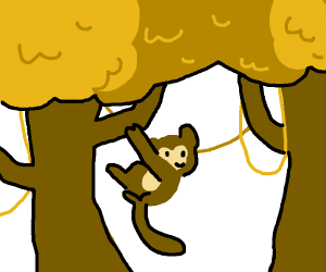 monkey is in strange tree thing