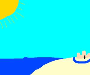 Beach with a Sandcastle