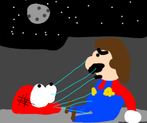 Mario lost in space like iron man in endgame
