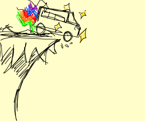 the magic school bus driving off a cliff