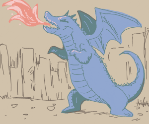 dragon standing on two legs breathing fire.