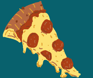 a slice of pepperoni pizza, super cheesy