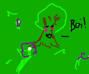 "CUTE TREES IN MEADOW SAYING ""BOI"""