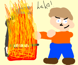 Burning fire extinguisher
