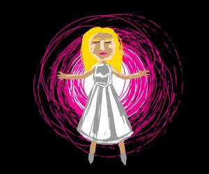 a female has a pink aurora
