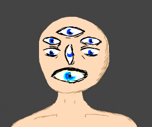 man has way too many eyes and no mouth or nos