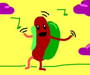 Hotdog in a green bun celebrating