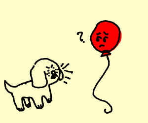 Dog barking at balloons