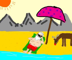 santa on the beach
