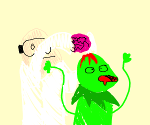 a docter takeing kermits brains out