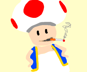 a mushroom somking a cigarette