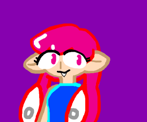 Pink Inkling with vampire fangs?