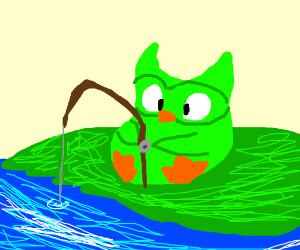 duolingo owl goes fishing