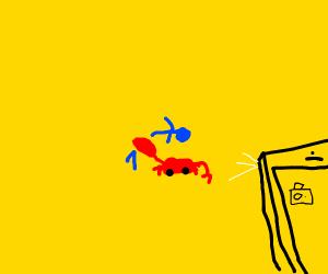 crab snaps  blew guy in half!