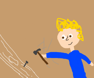 Curly blonde kid hammers nail