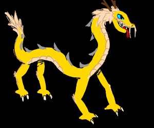 Golden Chinese dragon (black background)