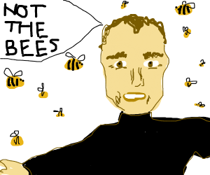 man runs from bees