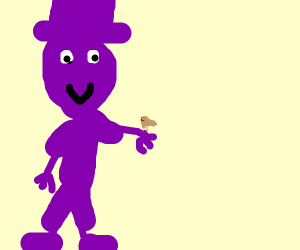 Violet man with cute small bird