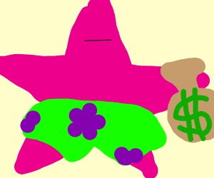 Patrick Star with a bag of money