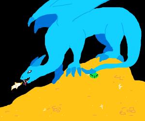 Blue dragon guards his treasure