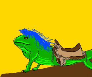 Blue haired lizard with a saddle