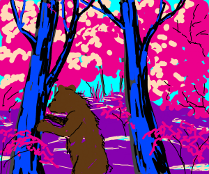 Bear in pink forest
