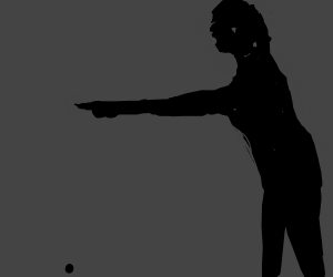 shadow guy pointing at something