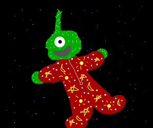 Fuzzy alien in his footy pajamas