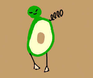 avocado grows a head and legs and antenna