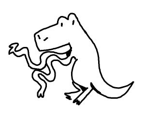 t-rex with long noodle arms
