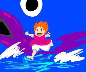 Ponyo in the ocean