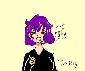 anime girl singing while walking