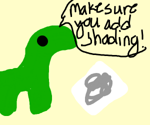 a dinosaur is giving painting tips!