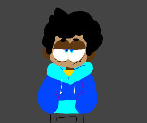 A guy with a blue sweater