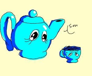 Teapot mother creepily stares at teacup
