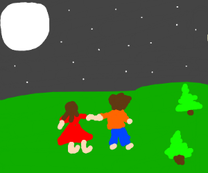 A couple looking at the moon