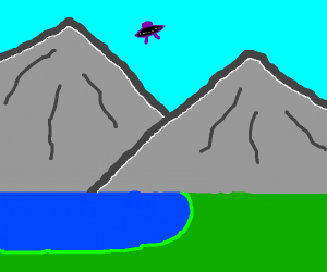 UFO flying over mountains and lake