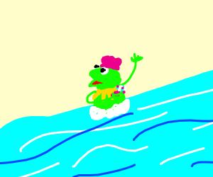 Kermit bathing in a river