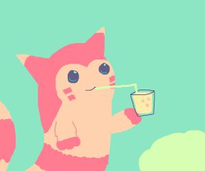 Furret (Pokémon) drinking lemonade