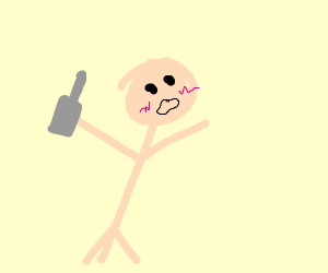 Pale stick man drinks too much
