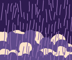 Raining in a purple-and-cream woodland