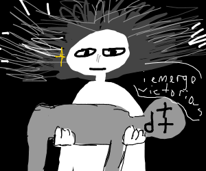 man holding dead body with a look of victory