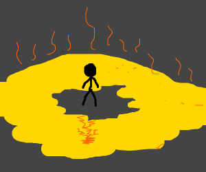 Figure surrounded by urine.