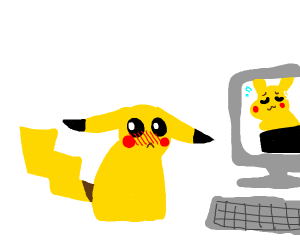 Pikachu embarrassed with it's internet resul