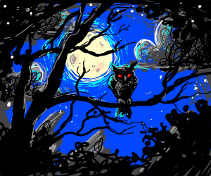 creepy owl on a branch at night