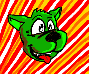 Green dog face with stripy background.
